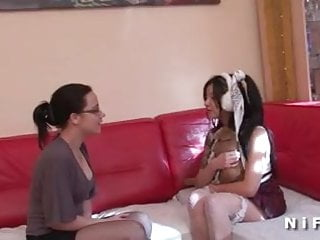 Naughty french maid threesome - French casting of an asian maid