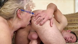 Granny is fucked then milks gyt and he cums in her mouth