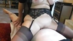 Mature Blonde in FF Stockings works his cock