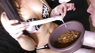 Cuckold Condom Feeding Humiliation From Bowl!