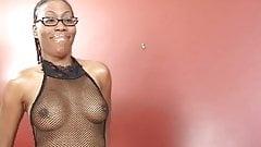 Ebony girl strips and gets fucked hard