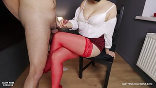 School Teacher with Big Tits Gives Handjob on her red stockings