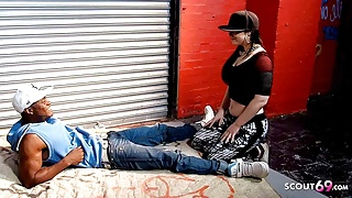 PAWG Saggy Tits Teen let Homeless Black Guy fuck her Publicly
