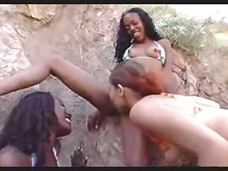 Busty coco - Little coco lesbian beach party