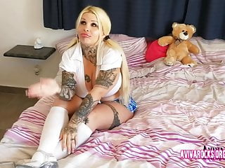 What is a teddy lingerie Aviva rocks - girl with hugh titts playing with a teddy-bear