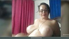 Granny big tits shaved pussy masturbation