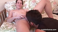 French cougar doing a young man with cum to mouth