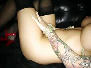 Tied blonde pussy - A tied up vyxen steel gets her throat, pussy, ass fucked