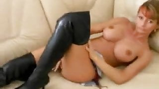 German Housewife Makes Him Cum On Her Black Boots