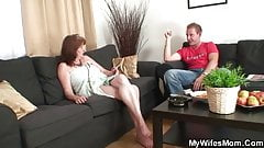 Old bag rides young cock and his wife comes in