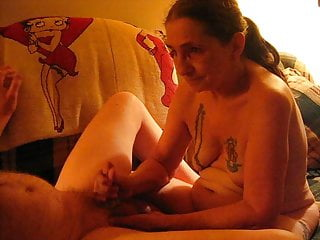 My husbands first cock Jacking off my husbands cock woo we does he shoot cum a lot