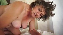 Watch her milk big cock and make him cum over her dark bush