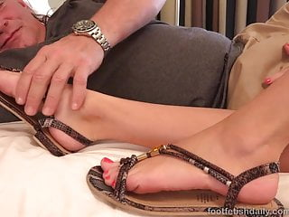 Evan stone cumshot threesome Hot brunette shoves feet in lovers mouth and give a footjob