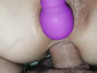 Protection during beginning anal sex Vibrates her pussy during anal sex