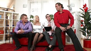 Blonde MILF gets her holes stretched by three dicks