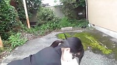 Call to husband Young wife's affair Outdoors