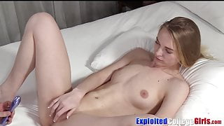 Young blonde coed casting fuck big cock before cum spraying