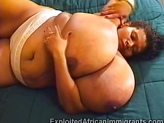Japanese balloon fetish African bbw with massive balloon tits masturbates in