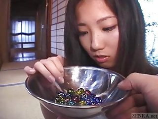 Glass flat bottomed marbles - Subtitled japanese cmnf schoolgirl twenty marbles insertion