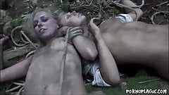 Sexy White chicks stripped & fucked in Jungle