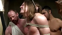 Long haired stud gets bound and bangbanged