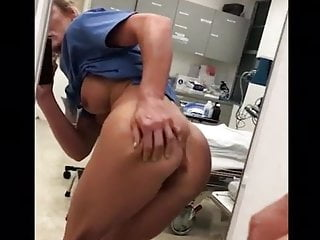 Power strip for medical use - Real whore nurse at work stripping and slapping her ass