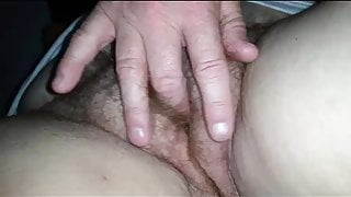 fingering my bbw wifes hairy pussy making her cum.