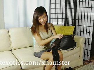 Asian anal fishnet Asian babe catches your cock with her fishnet stockings
