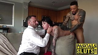 Submissive darker woman brutally banged by two dominant guys