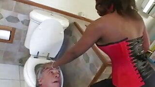 Black ass obsessed perv licks and sniffs black ass and pussy