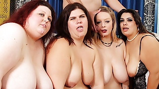Four Wild Plumpers have Reverse Gangbang with a Lucky Long Dicked Man