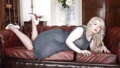 BBW Danni Marie in vintage strips to wank in nylons heels