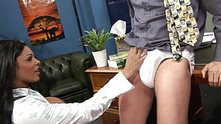 Chocolate babe enjoys taking this long cock from behind