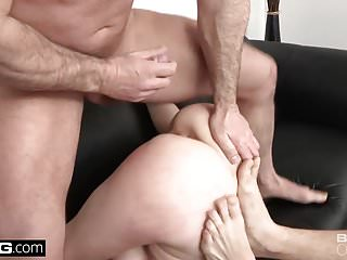 Natural redhead anal Fast anal pounding while she sucks his friends cock