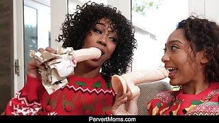 Ebony MILF Misty Stone and Sarah have Holiday Threesome