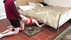 Stepmom stuck under the bed gets creampie from stepson