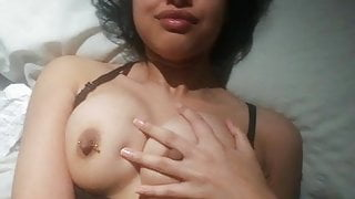 brown girl teases with her tits