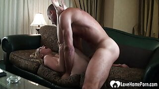 Nerdy blonde with big tits getting rammed