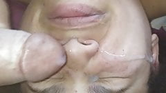 Tenant doesn't suck cock but she lets me cum in her face