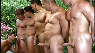Big Cock and Muscle Blowjob Orgy