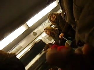 Group of girls cum Flashing a group of girls in the train