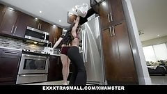 Tiny ebony teen and her blonde BFF banged by a huge guy