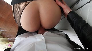 Sexy babe in pantyhose sucks dick and fucking with boss