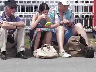 Exhib voyeur French upskirt see through panty public exhib slowmotion