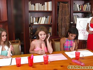 Video instruction for great sex Cfnm sexteacher instructs students on fucking