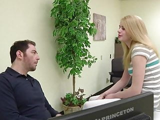 Japenise pantyhose office Daughter visits not father in his office