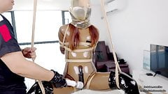 Lovely Asian latex schoolgirl DOVE, rope bondage and air play