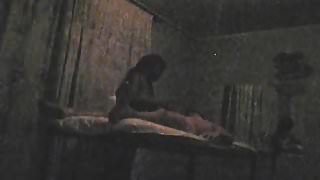 Sneaky doggy sex in massage room