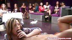 Slutty girlfriend queening stripper at party