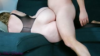 Stepmom In sexy Lingerie seduces step son with her huge Ass!